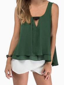 Green Strap V Neck Loose Tank Top