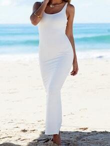White Beachwear Scoop Neck Sleeveless Slim Maxi Dress