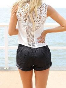 White Round Neck Floral Crochet Chiffon Tank Top