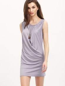 Grey Round Neck Sleeveless Slim Dress