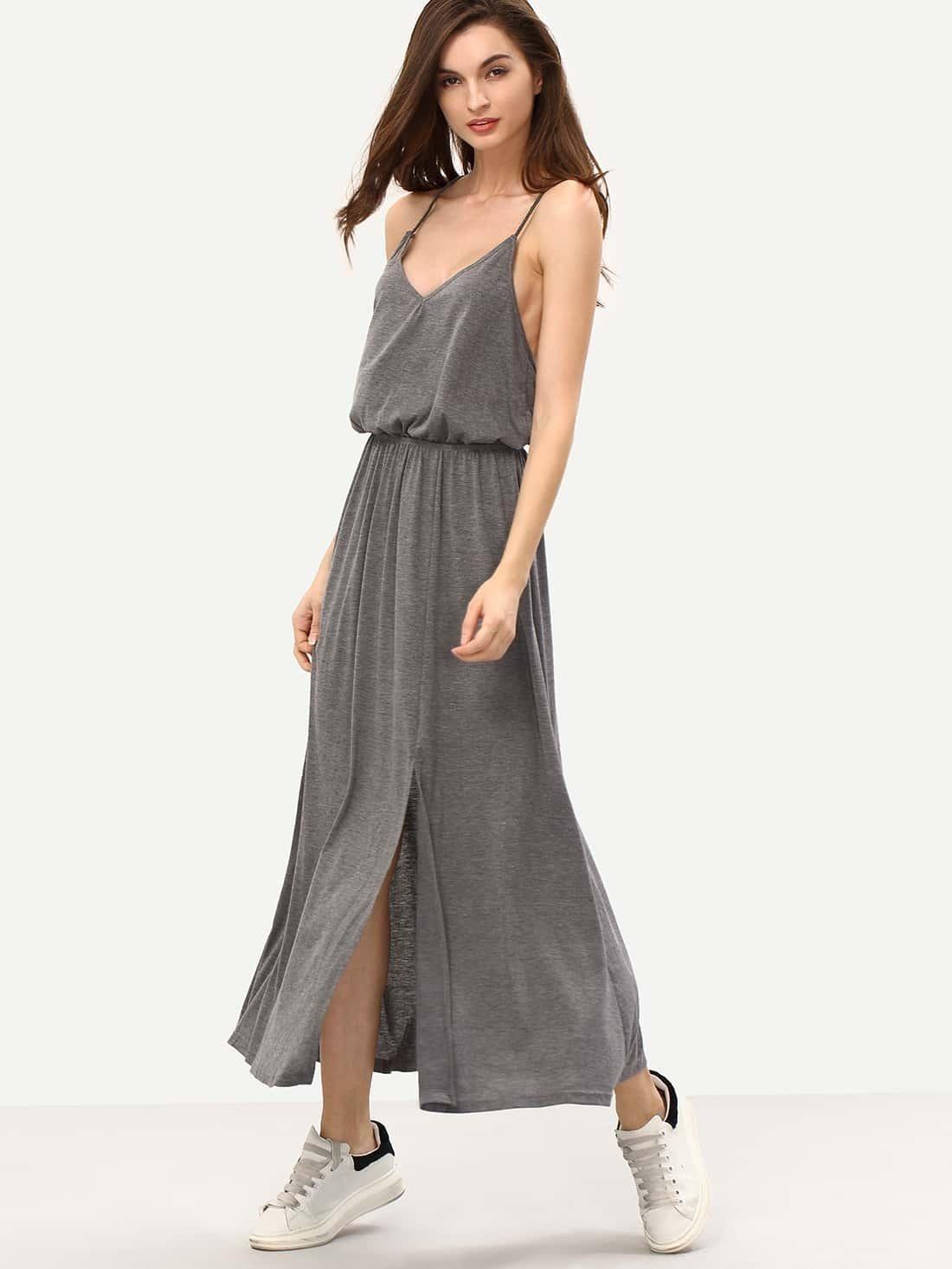 Grey Criss Cross Back Split Maxi Dress