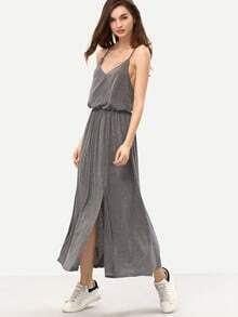 Grey Criss Cross Back Split Maxi Dress
