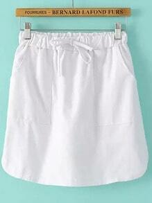 White Drawstring Waist Pockets Bodycon Skirt