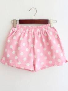 Pink Elastic Waist Polka Dot Denim Shorts
