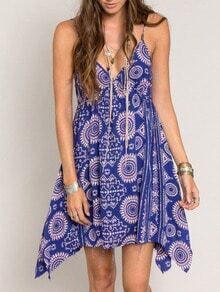 Blue Spaghetti Strap Backless Vintage Print Dress