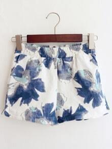 Blue Elastic Waist Vintage Floral Shorts