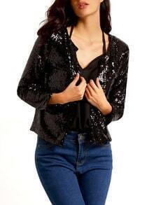 Black With Sequined Slim Black Blazer