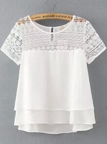 White Lace Short Sleeve Loose Chiffon Blouse