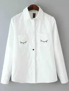 White Lapel Long Sleeve Eyelash Embroidered Blouse