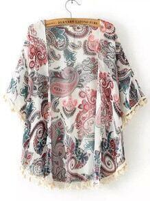 White Short Sleeve Tassel Cashew Print Chiffon Kimono