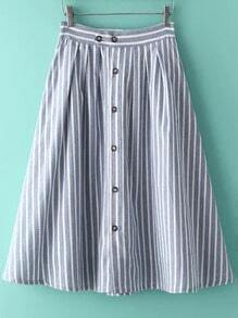 Blue Vertical Stripe Buttons Skirt