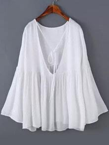 Bell Sleeve Open Back White Top