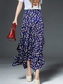 Blue Asymmetrical Floral Long Skirt