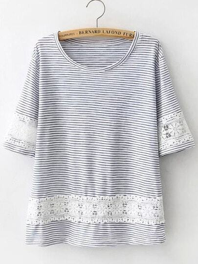 Blue Floral Crochet Striped Loose T-Shirt