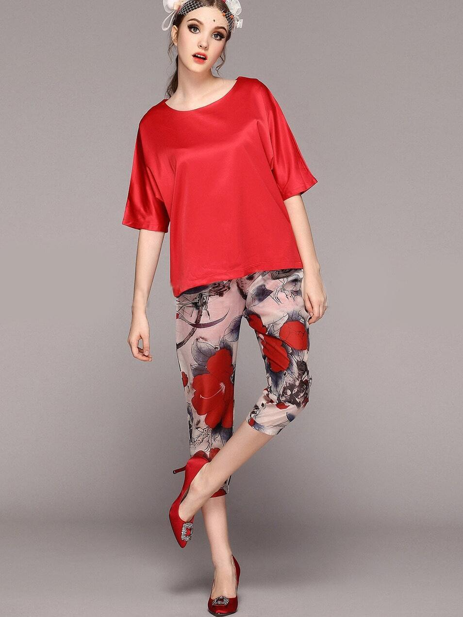 Red Batwing Sleeve Loose Top With Floral Pant