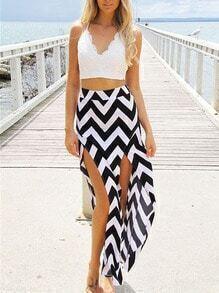 Zigzag With Split Black Skirt