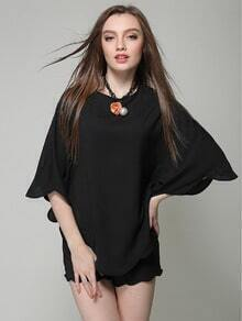 Black Round Neck Batwing Top With Scalloped Shorts