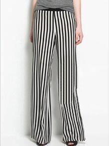 Black White Vertical Stripe Loose Pant