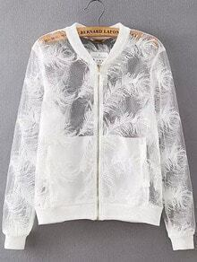 White Long Sleeve Feather Embroidered Jacket