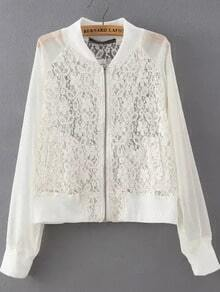 White Stand Collar Lace Crop Jacket