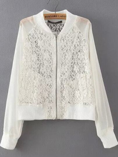 White Stand Collar Lace Crop Jacket pictures