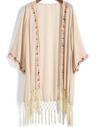Apricot Embroidered Tassel Chiffon Kimono