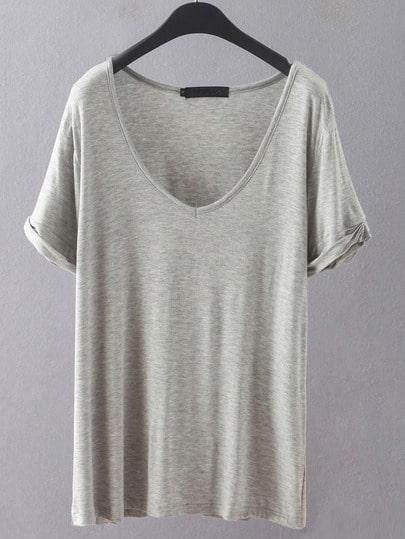 V Neckline Loose T-shirt