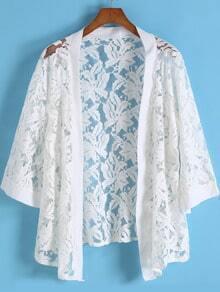 White Floral Crochet Lace Kimono