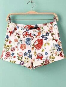 Multicolor Floral Pockets Shorts