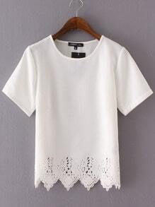 White Short Sleeve Lace Hem Chiffon Blouse