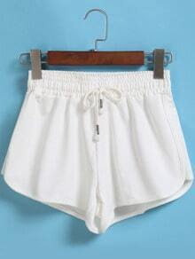 White Drawstring Waist Shorts