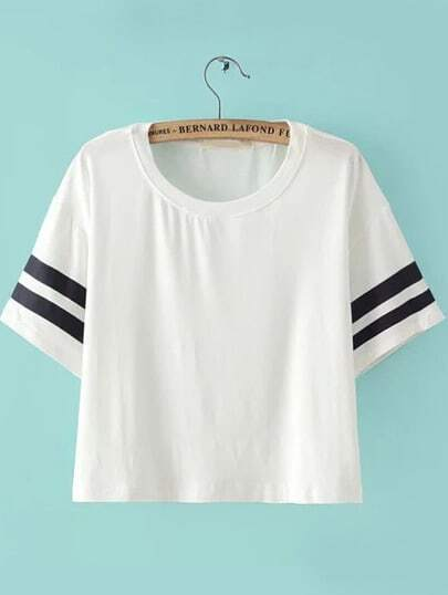 White Short Sleeve Striped Crop T-Shirt