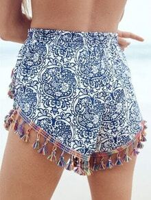 Blue Tribal Print Tassel Shorts