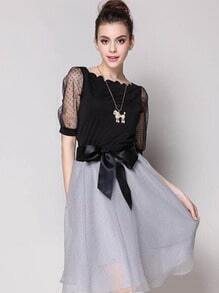 Black Boat Neck Sheer Mesh Top With White Bow Skirt