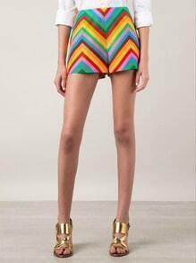 Multicolor Zigzag Print Straight Shorts