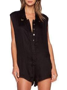 Black Sleeveless Lapel With Buttons Playsuit