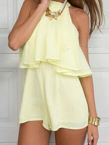 Yellow Halter Ruffle Loose Jumpsuit