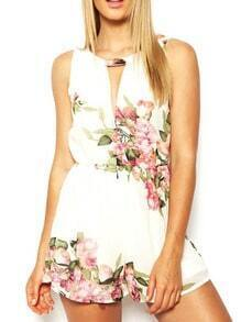 White Sleeveless Hollow Floral Jumpsuit