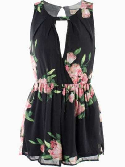 Black Sleeveless Hollow Floral Jumpsuit