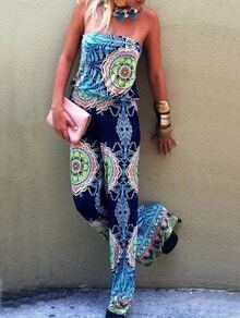 Blue Strapless Abstract Print Jumpsuit