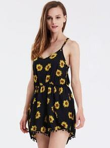 Black Spaghetti Strap Sunflower Print Jumpsuit