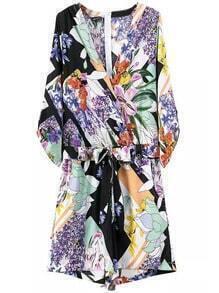 Multicolor V Neck Tie-Waist Floral Jumpsuit