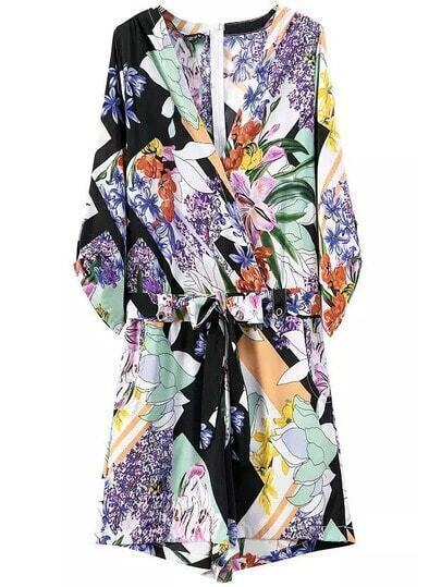 Multicolor V Neck Tie-Waist Floral Jumpsuit