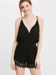 Black Spaghetti Strap V Neck With Lace Playsuit