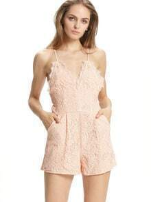 Pink Spaghetti Strap Lace Playsuit