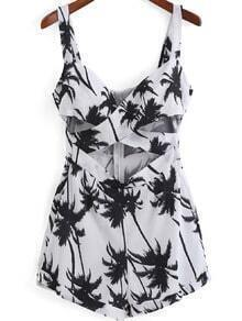 White Spaghetti Strap Coconut Tree Print Navel Jumpsuits