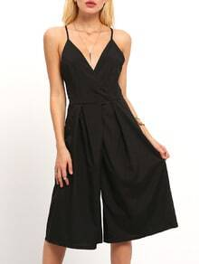 Black Spaghetti Strap Backless Wide Leg Jumpsuit