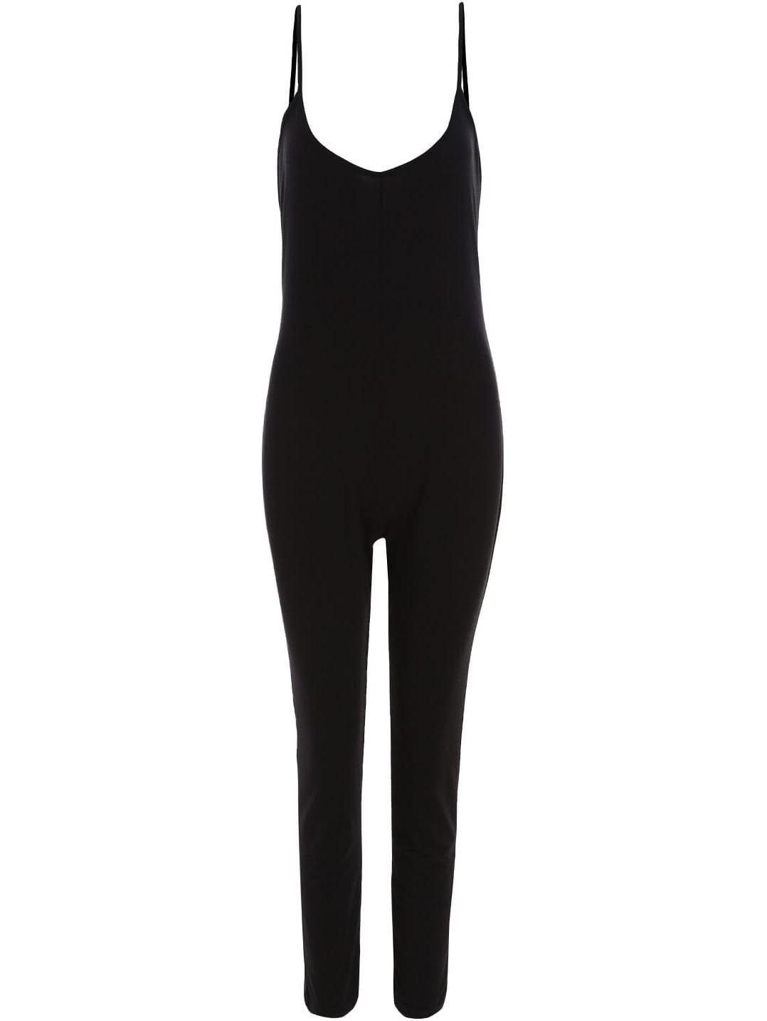 Black Spaghetti Strap Backless Slim Jumpsuit jumpsuit150529151