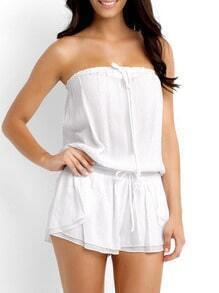 White Off The Shoulder Lace Up Playsuit
