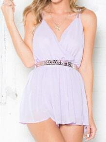 Purple Spaghetti Strap Backless Playsuit